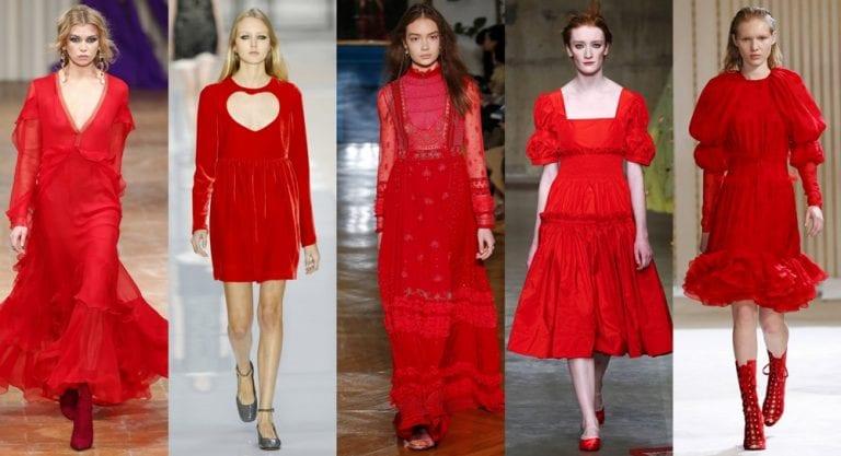 Czerwone sukienki pokaz mody